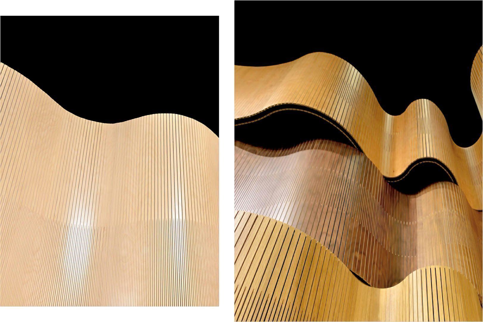 curve wall undulating softly in showroom on left and curve wall undulating like wave in showroom on left