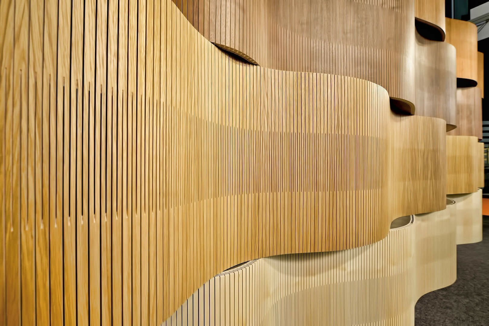 acoustic wood displaying like fish swimming in showroom