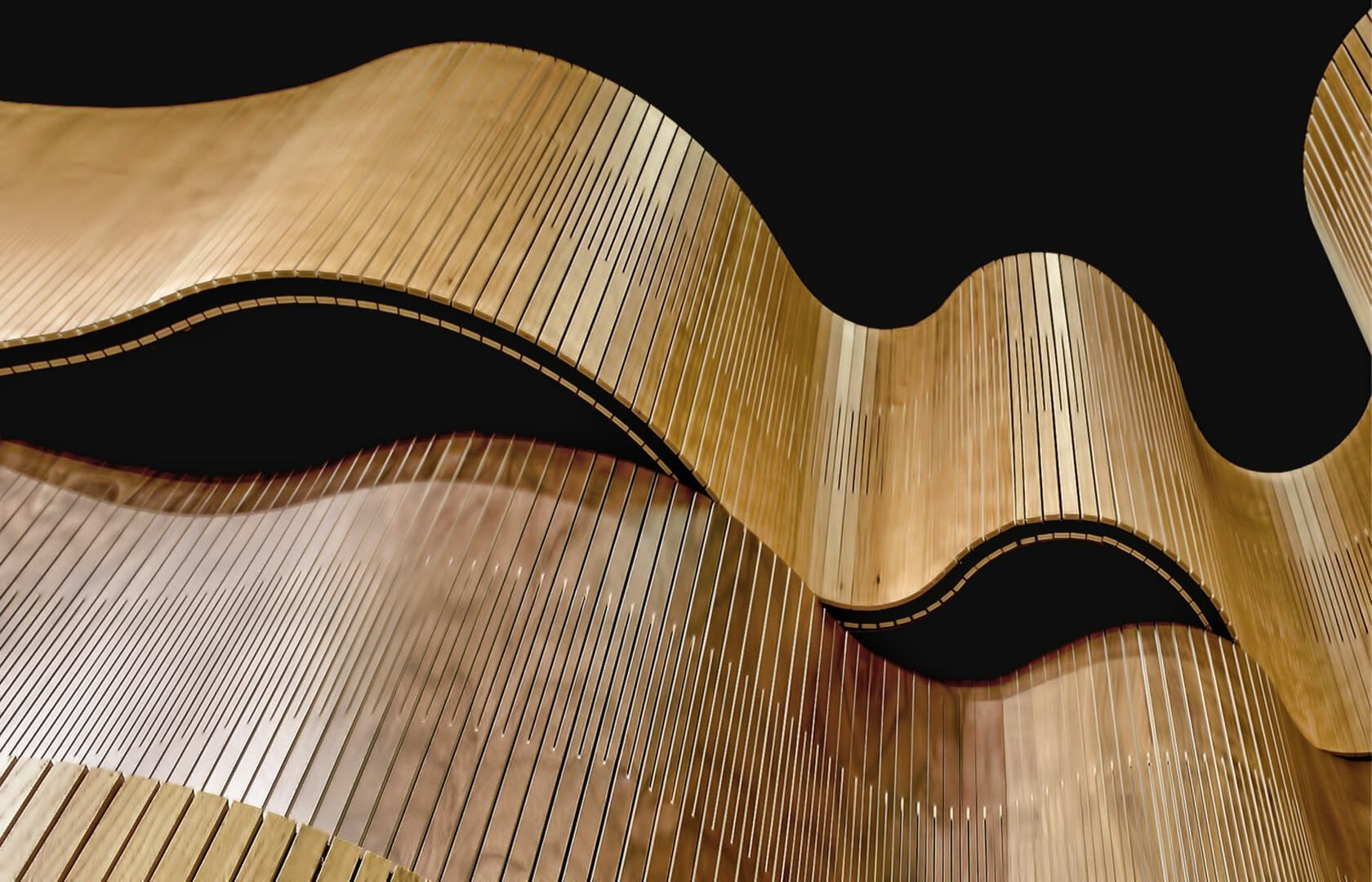 acoustic wood undulating like wave in showroom