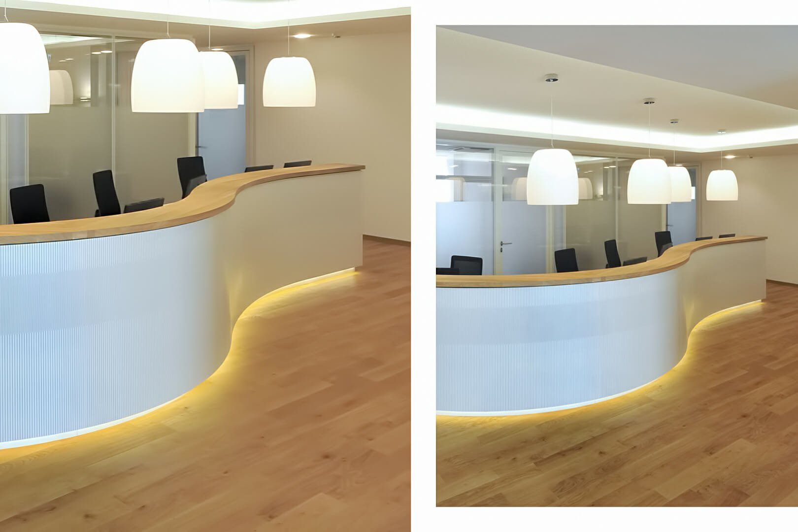 curve wall using as reception desk