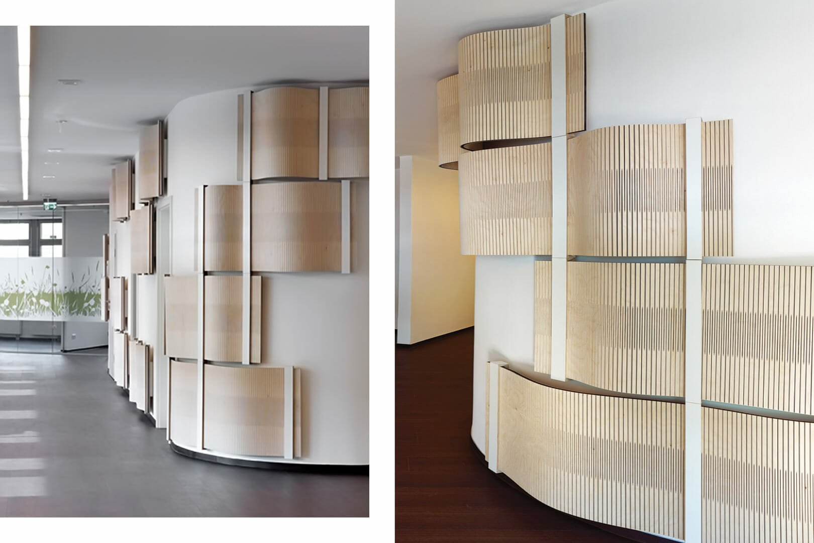 acoustic wood undulating on entrance wall
