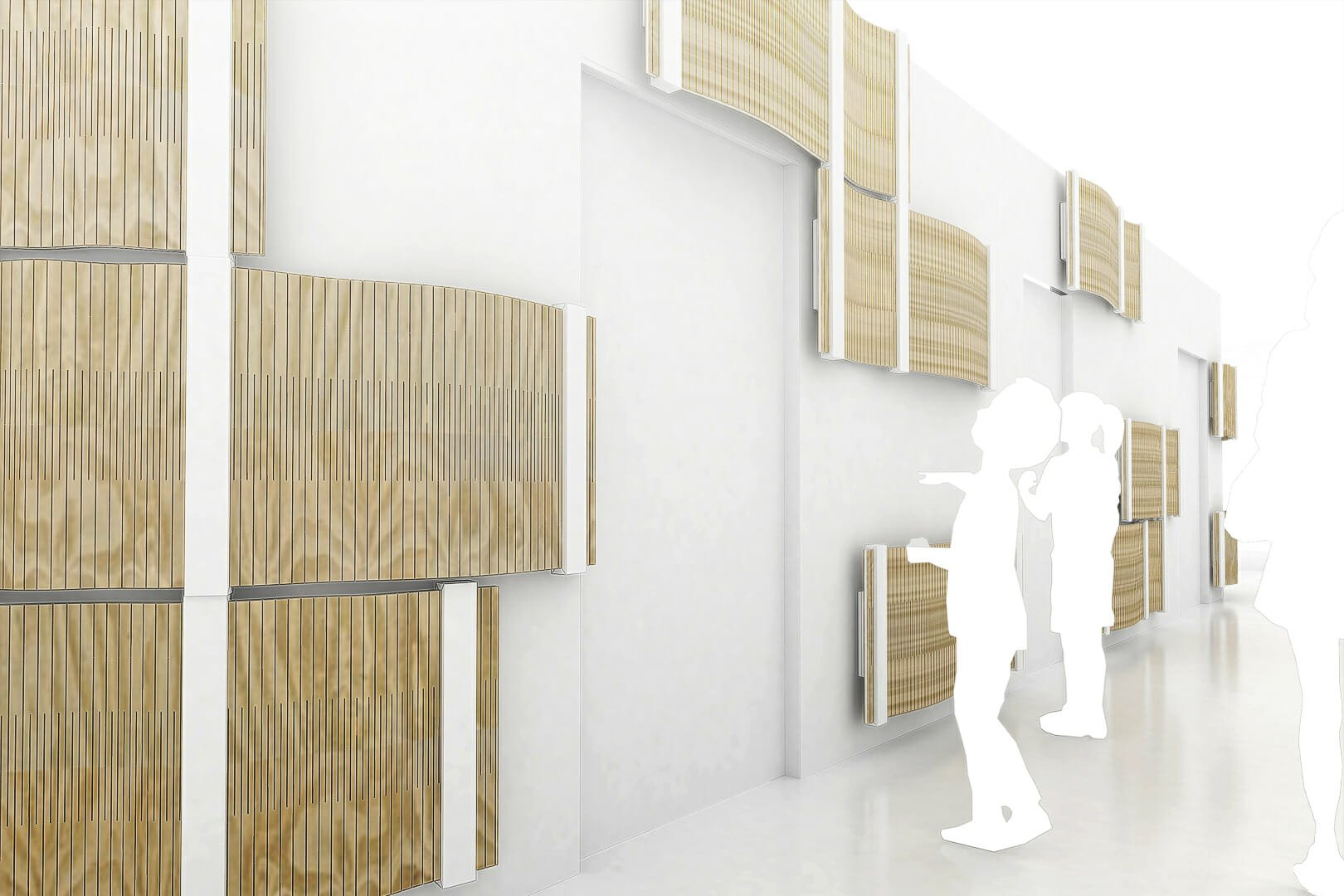 acoustic wood showing like fish in entrance lobby by architecture rendering