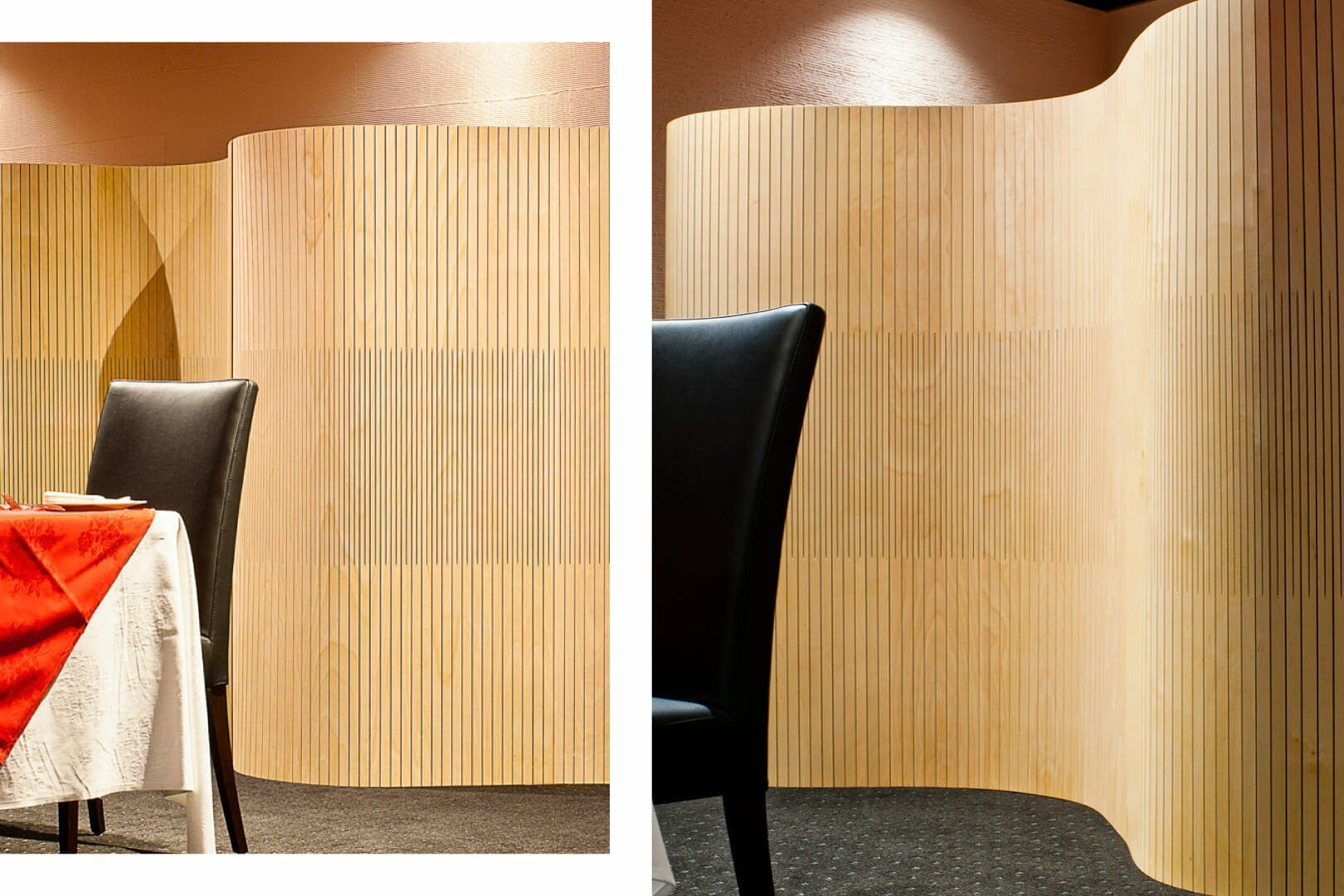 flexible wall undulating like alvar aalto partition in restaurant