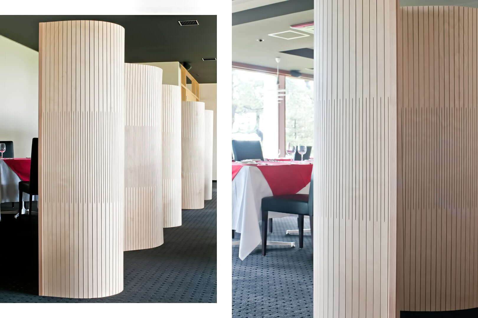 flexible wall undulating like wave in restraunt