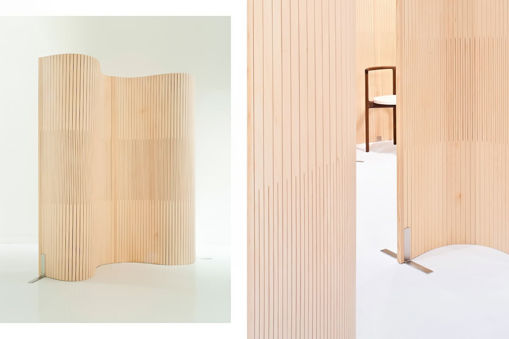 wood partition undulating in gallery